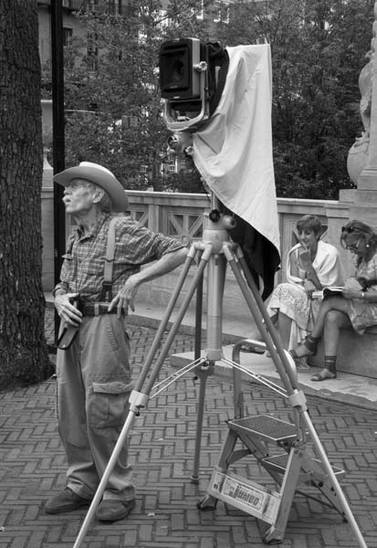 Photographer with 8x10 camera, Boston Common, August 2009