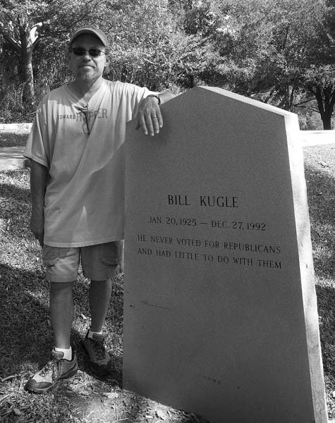 At Bill Kugle's gravestone, Texas State Cemetery, Austin, July 2008