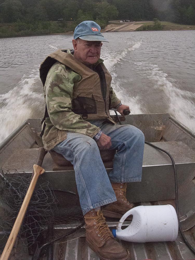 Harris K. Teel trotline fishing, Lake Wright Patman, April 2012