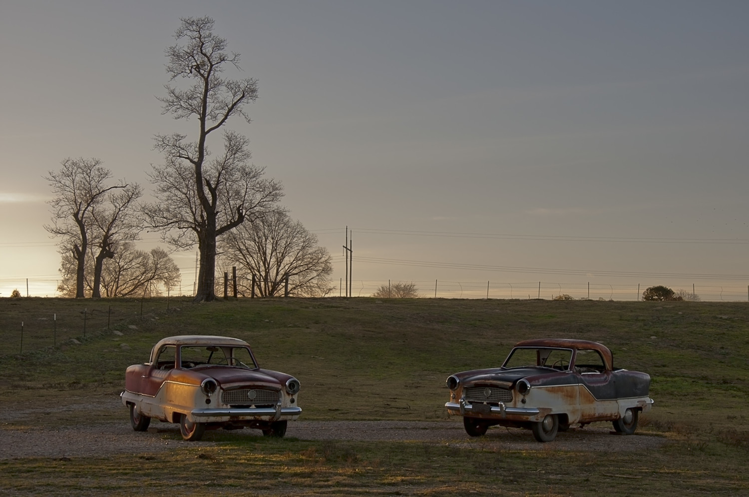 Two old Nash cars for sale, outside Malakoff, January 2012