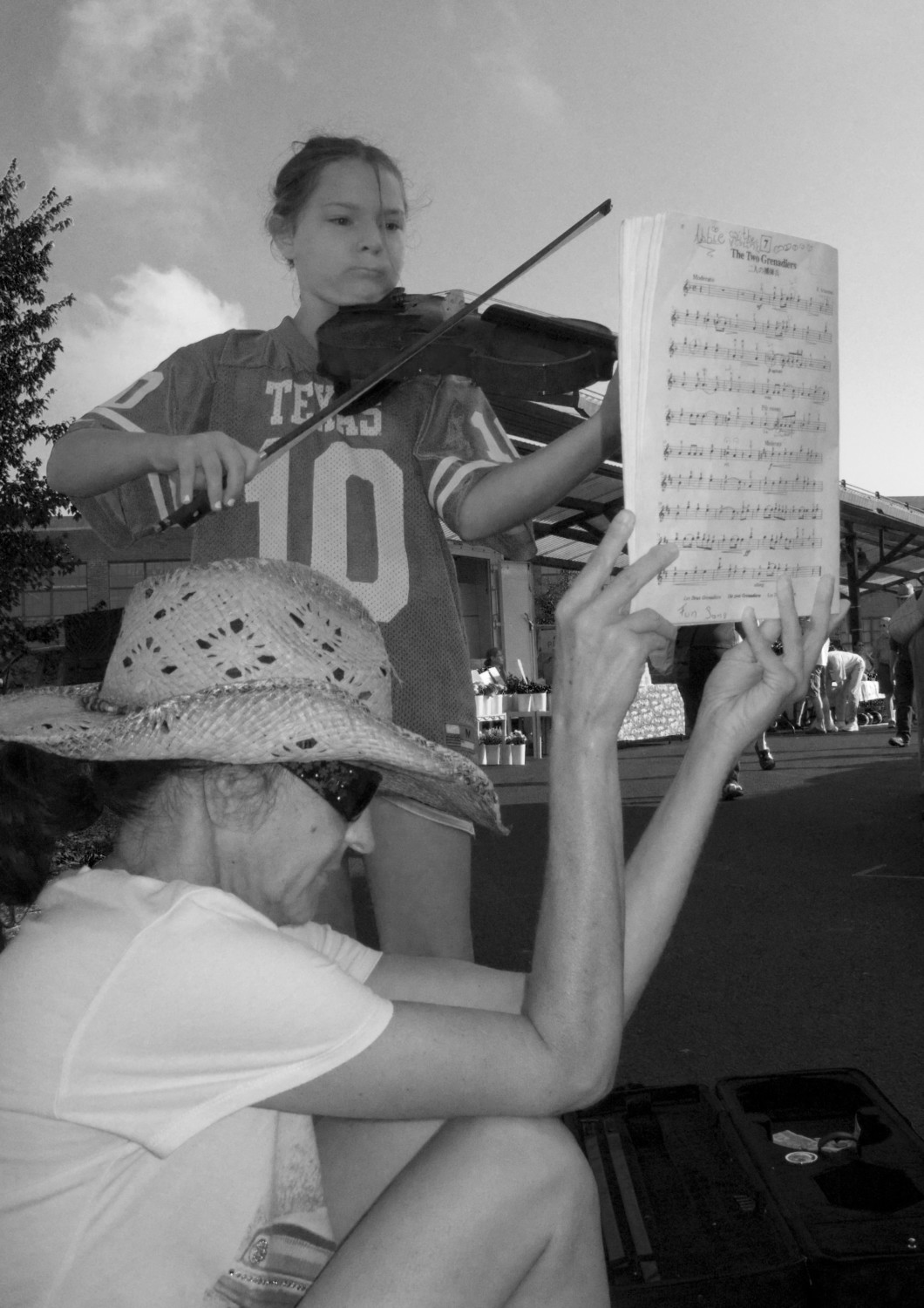 Playing violin, Bloomington, Indiana, August 2008
